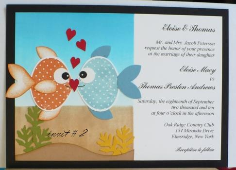 Ornament Punch Fish Sample Wedding Cards