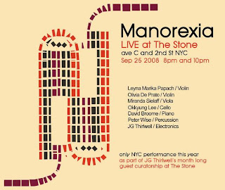 Manorexia/JG Thirlwell Play The Stone on Sept. 25th