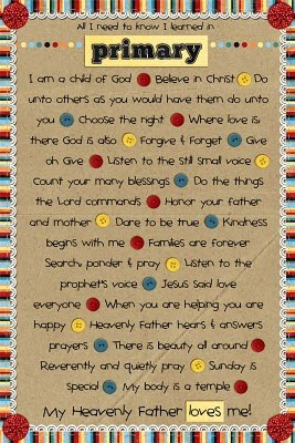 All I Need to Know I Learned in Primary | LDS | Primary Printable Poster