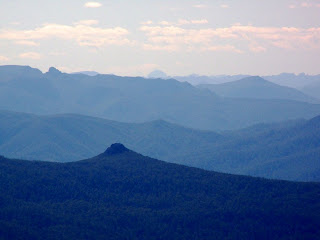 NW view from Hartz Mountains, Mt Riveaux in front, Lots Wife on left skyline, Franchmans Cap, centre in far distance - 12 Feb 2007