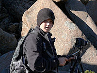 Isaac and his new camera, Mt Wellington - 31 March 2007