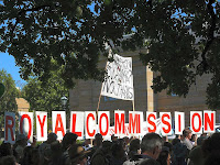 Pulpmill protest, Parliament House, ROYAL COMMISSION sign - 22 Mar 2007