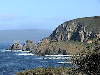 Coast on western side of Labillardiere Peninsula showing the bluff below Mt Bleak, Bruny Island, Tasmania - 20th Oct 2007