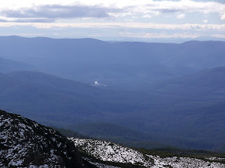 Newood timber processing site visible from Hartz Peak - 4th August 2008
