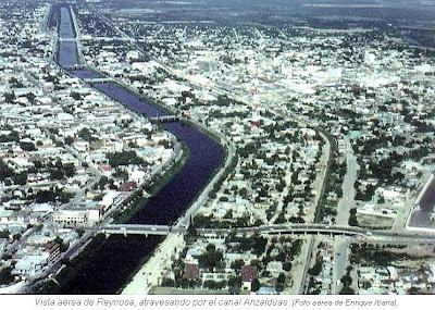 Vista aerea de Reynosa atravesada por Canal Anzalduas