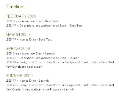 LEED 2009 AP Exams Replacement Schedule