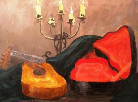 Acrylic on Canvas:  Guitar #1