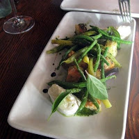 photo of peach panzanella at Ubuntu in Napa
