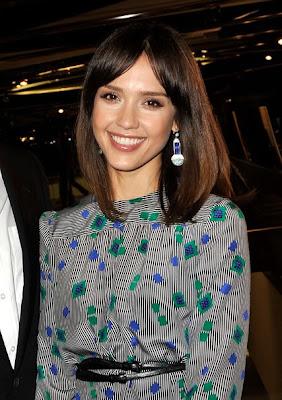 Jessica Alba Dangling Gemstone Earrings