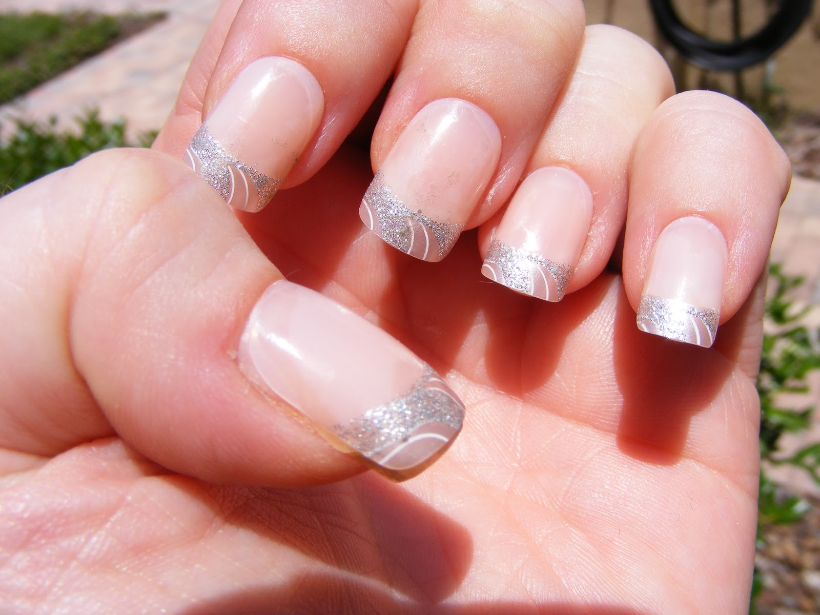 Silver Tip Acrylic Nails With Design