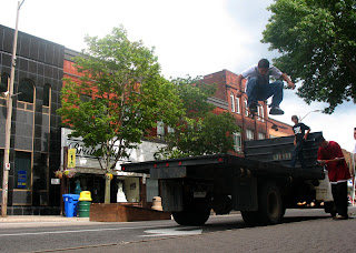 Mike Bell with a big frontside flip off the back of Travis' Truck