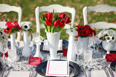 blue red milk glass wedding