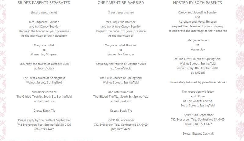A Little Birdie Design Studio Wedding Invitation Wording Ideas