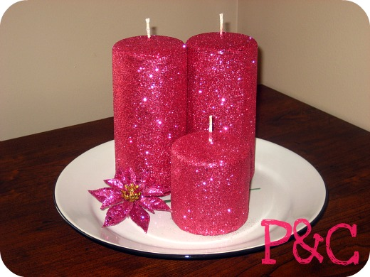 diy pink glitter candles