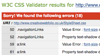 W3C screen shot showing that the CSS doesn't validate