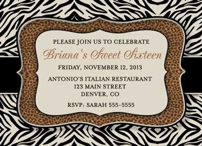 Bunny prints zebra and leopard birthday invitations and thank you cards filmwisefo