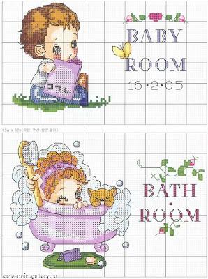 Схема подписей для комнат (ванная и детская). детская.  Милые схемки подписей на двери ванной и детской комнат.