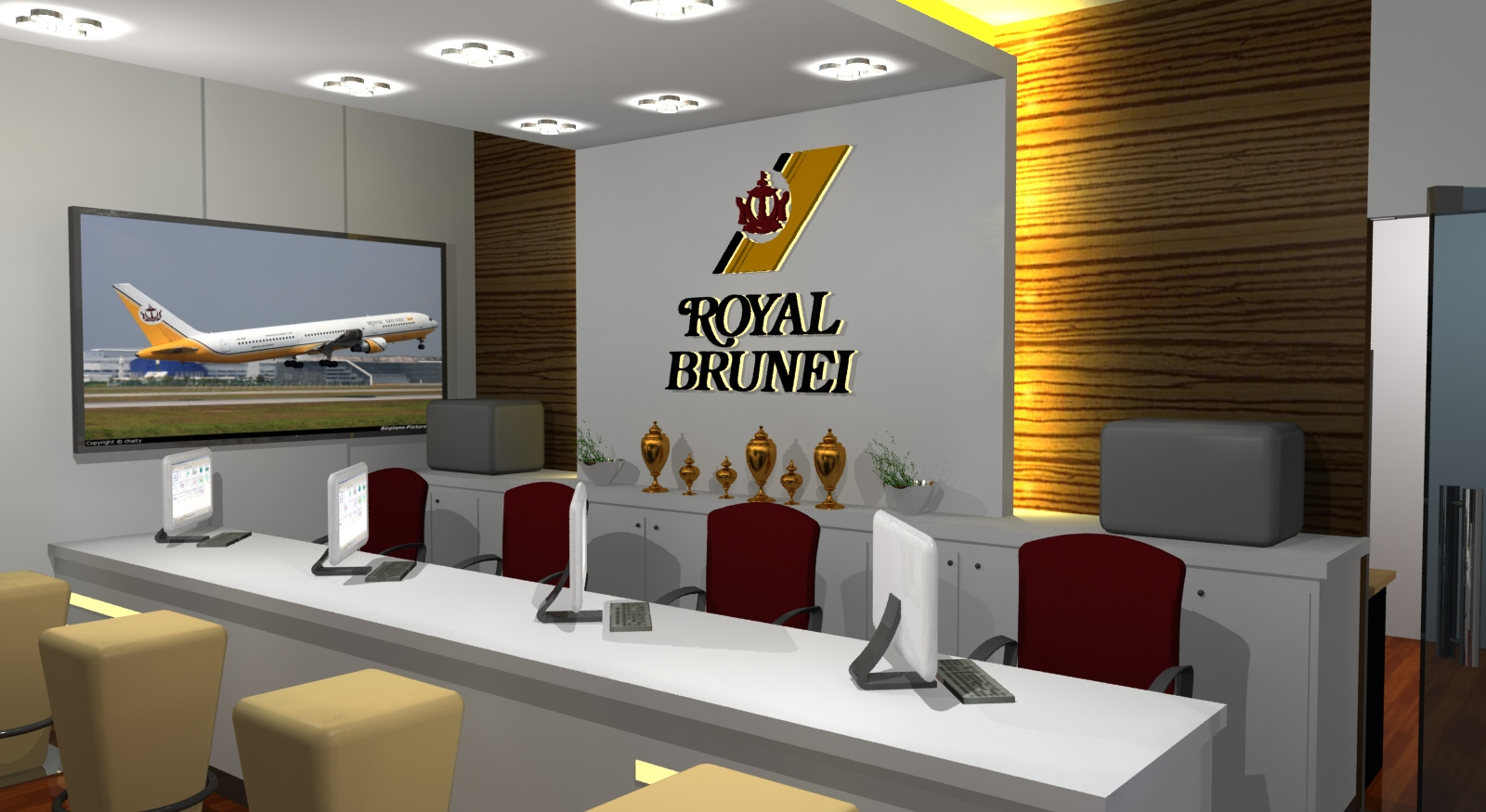 Gurooji design case study royal brunei ticket sales for Sales office design