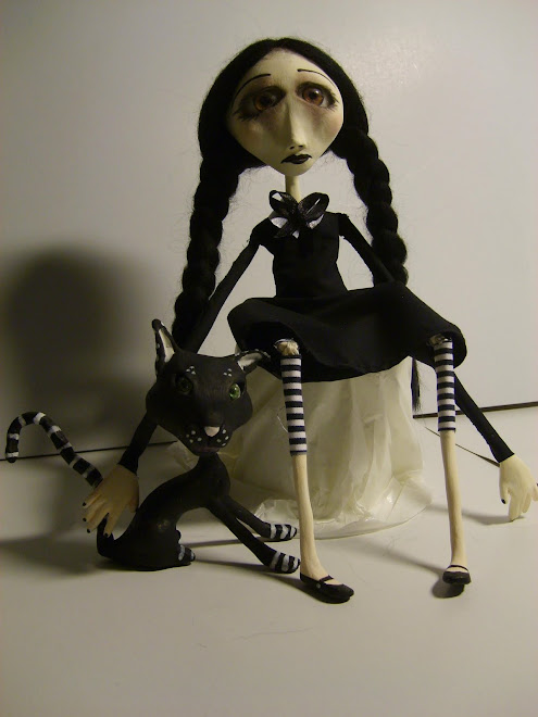 "My art gothic doll,""WENDNESDAY and black cat"""