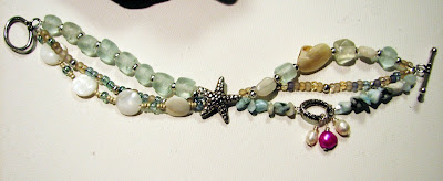 larimar and recycled glass with pearls by laurastaley.etsy.com
