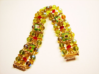 millifiori beads with czech glass with AB handwired brass spacers three-strand