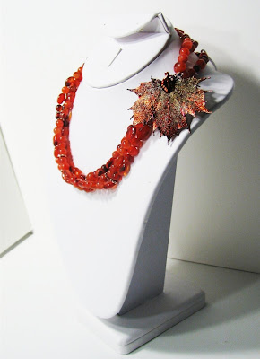 carnelian and copper with real copper-dipped maple leaf necklace at laurastaley.etsy.com