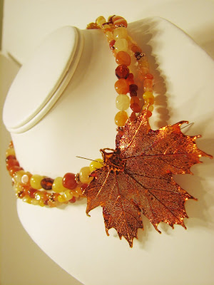 custom red aventurine mix bridesmaids' necklace with copper-dipped maple leaf on laurastaley.Etsy.com