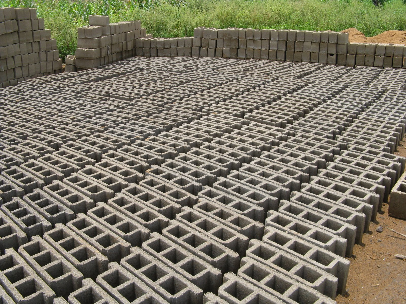 Making concrete blocks by hand