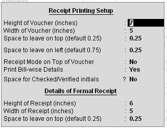 Receipt voucher printing