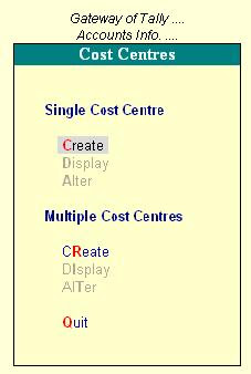Master Cost Centres