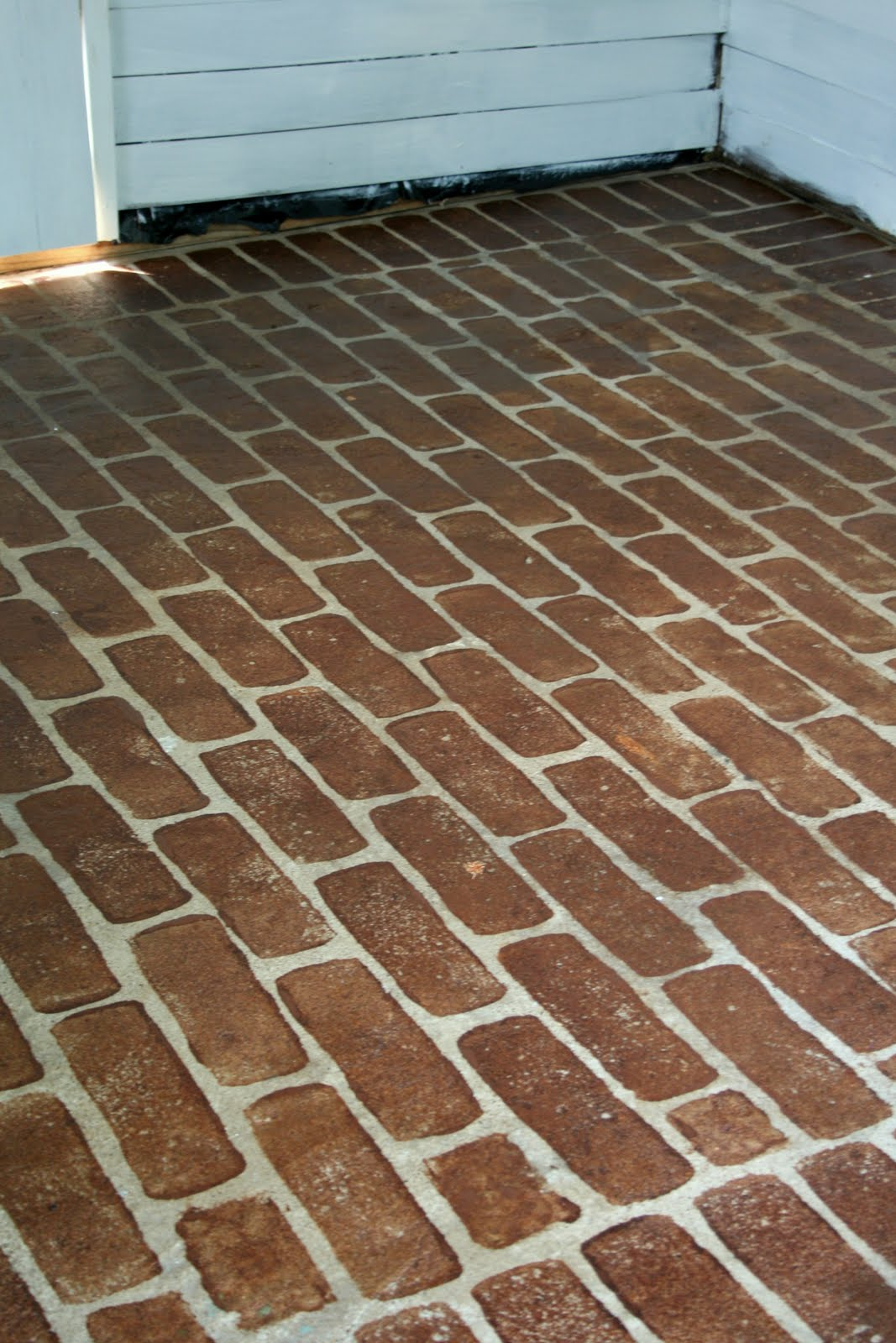 The virginia house faux stained brick floor tutorial for Fake tile floor