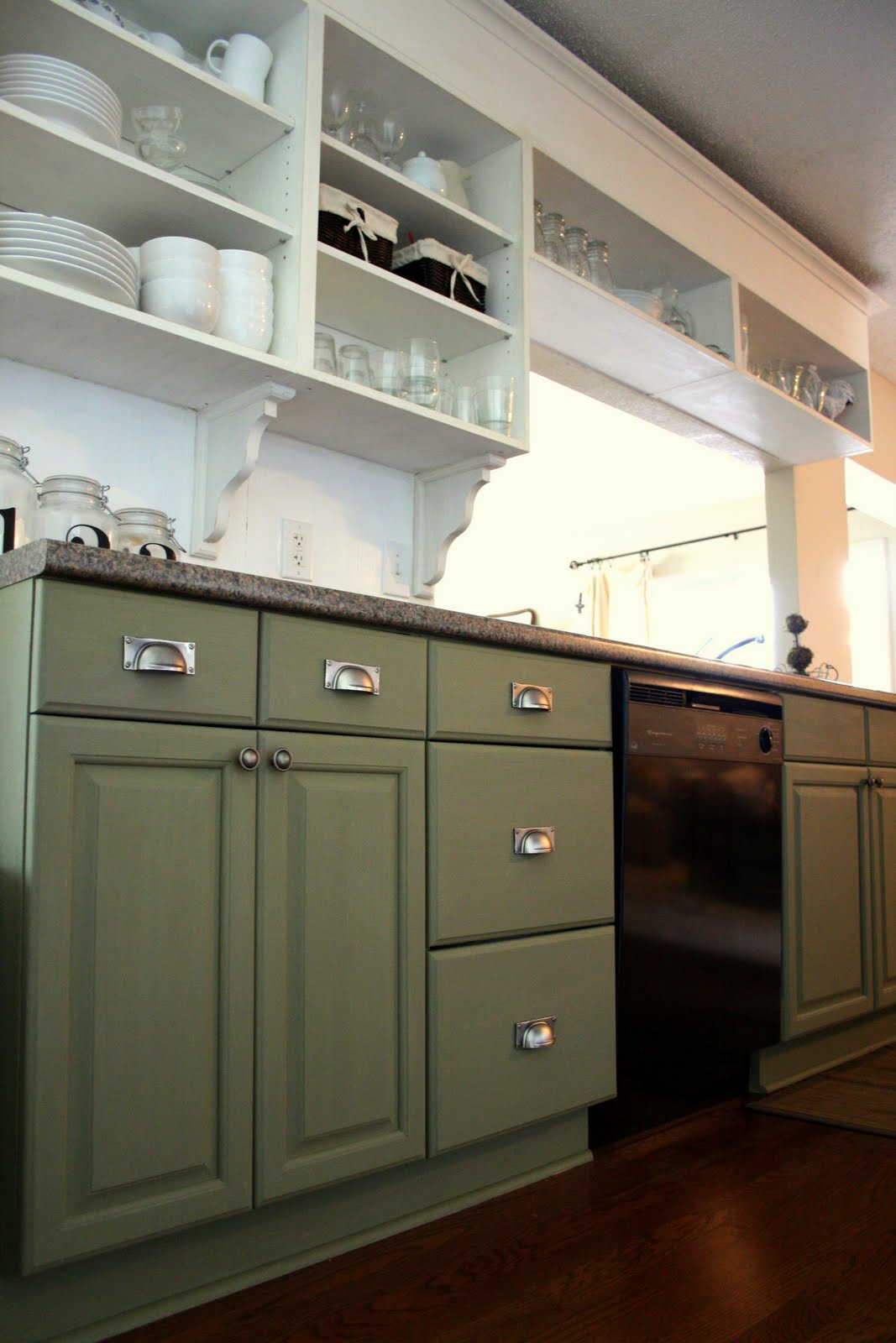 The virginia house painting my cabinets with caromal for Grey green kitchen cabinets