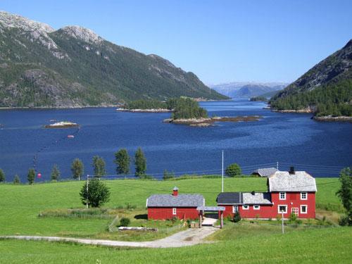 fiordo-noruega-web,mount, Mountains, Lake, sunset, Noruega direction