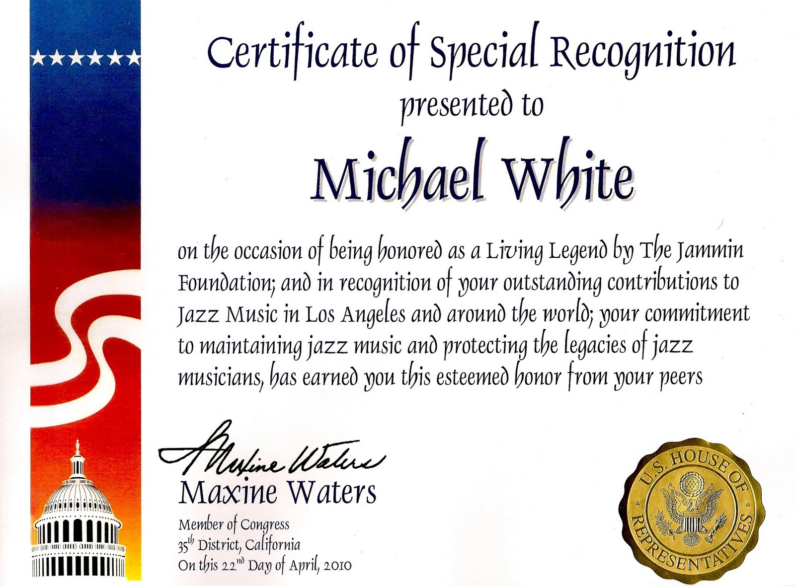 Michael White Quintet Blog Certificate Of Special