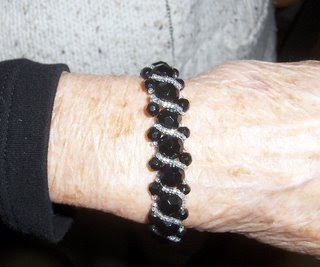 Photo of beaded bracelet made by Pat.