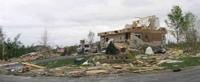 Picture of tornado damage in Hugo, MN.
