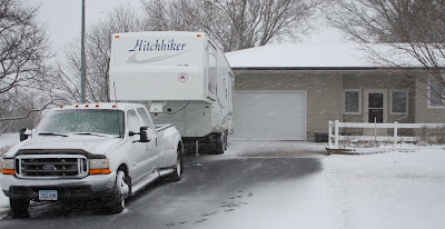 Photo of Keith's trailer in snow storm