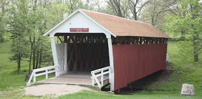 Photo of a covered bridge in Winterset, Madison County, Iowa.
