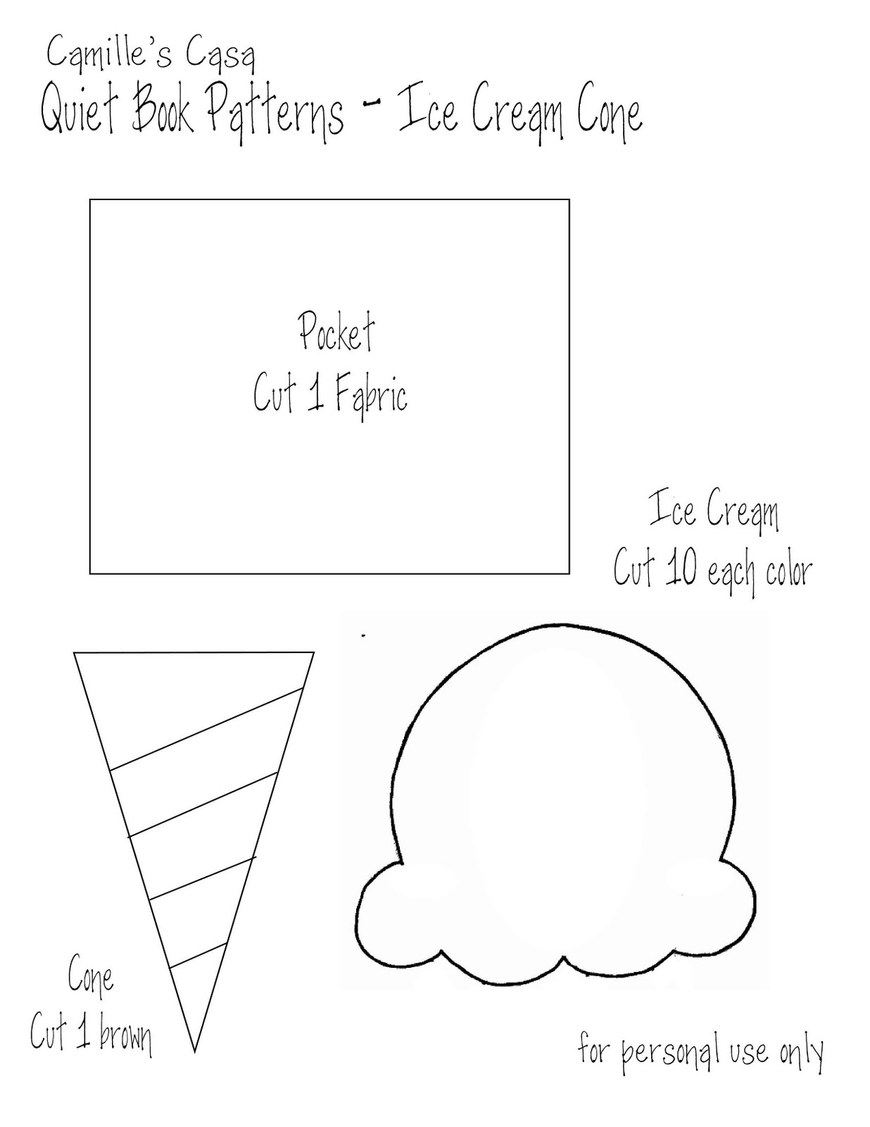 Free coloring pages ice cream sundae - Camilles Casa Quiet Book Pattern And Printable Ice Cream 1236x1600