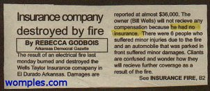 really funny news story insurance company not insured after fire
