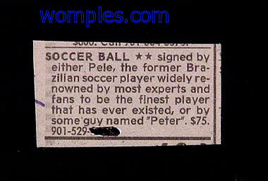really funny classifieds pele or peter soccer ball for sale
