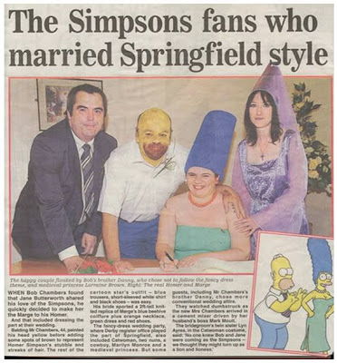 funny news photos of couple getting married dressed as simpsons homer and marge with woman dressed as a witch