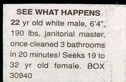 really funny personal ads janitor is really fast toilet bathroom cleaner seeks female