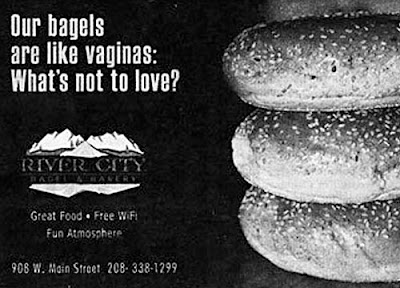 funny news ad for river city bagels claim they are like vaginas very odd