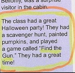funny news story about halloween game called find the gun