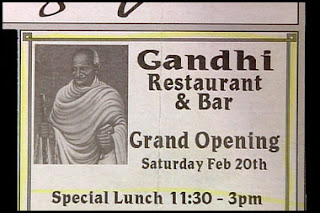 funny stupid news ad for gandhi bar and restaurant even though he didnt approve of drinking alcohol