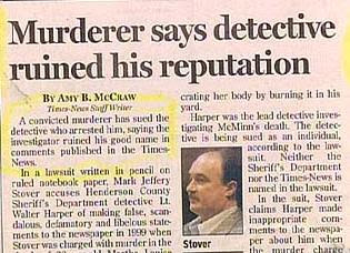 funny headline and story about convicted murderer suing for his reputation and good name being ruined by detective