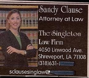 funny ad picture of sandy clause lawyer at singleton law firm weird name
