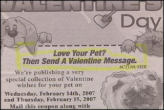 funy stupid news ad for valentines messages for pets if they could read