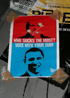 funny election posters vote with your gum for obama or mccain
